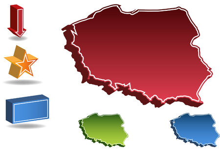 Poland country map isolated on a white background.