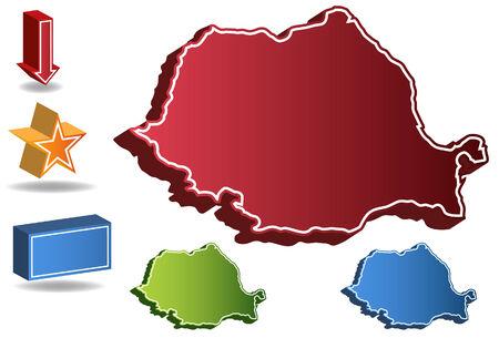 Kaart van Roemenië land geïsoleerd op een witte achtergrond. Stock Illustratie