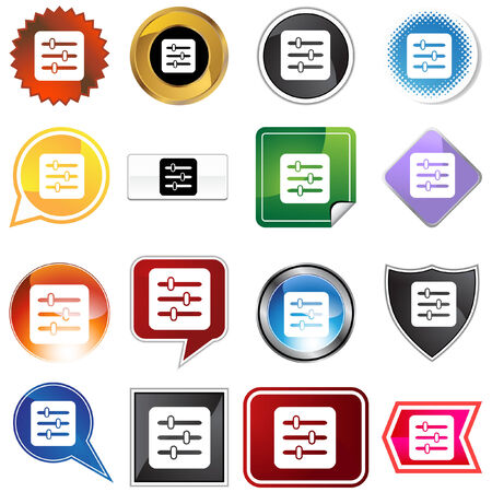 Control panel label set isolated on a white background. Stock Vector - 5807912