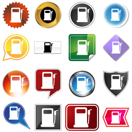 Gas pump label set isolated on a white background. Illustration