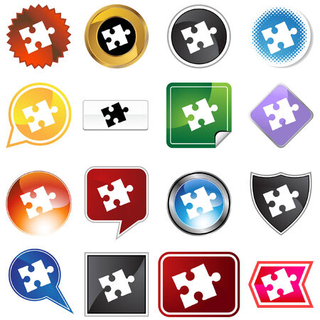 puzzle label set isolated on a white background. Stock Vector - 5807914