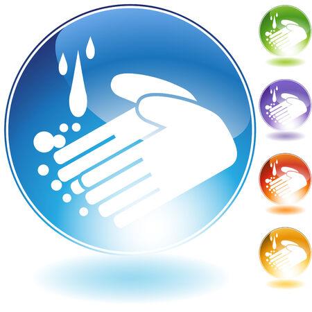 lavarse las manos: lavado de manos cristal aislado en un fondo blanco. Vectores