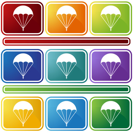 bevel: parachute icon bevel isolated on a white background.