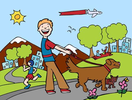 사람들의 애완 동물을 산책하는 사람 (남자)와 강아지 워커 공원.