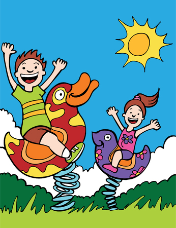Park Amusement Ride with two children on spring rocking play toys. Banque d'images - 5807947