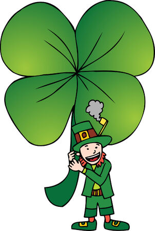 Shamrock Leprechaun isolated on a white background.