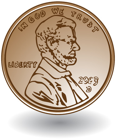 Penny tekening geïsoleerd op een witte achtergrond. Stock Illustratie