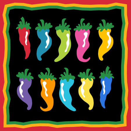 chili pepper icon set with colorful group of cartoon spice elements and border. Ilustração