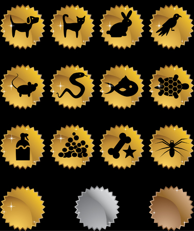 Pet Icon Set Gold isolated on a black background. Illustration