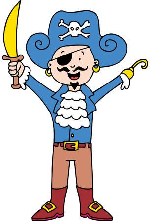piraat kind geïsoleerd op een witte achtergrond. Stock Illustratie