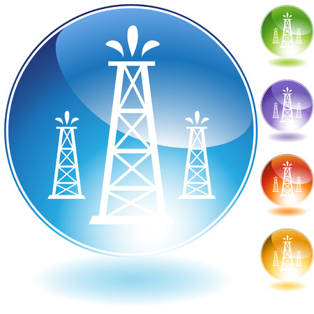нефтяной: oil well crystal icon  isolated on a white background.