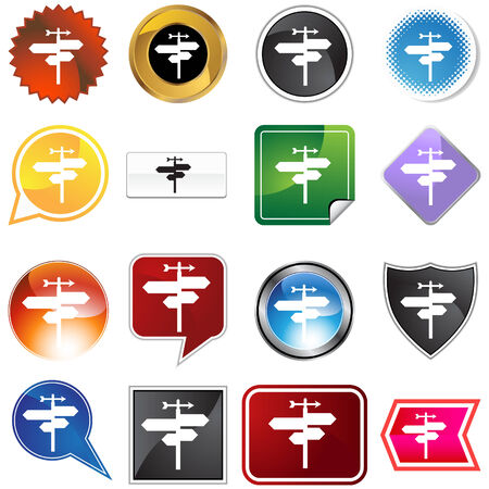 crossroads icon set isolated on a white background. Stock Vector - 5859810