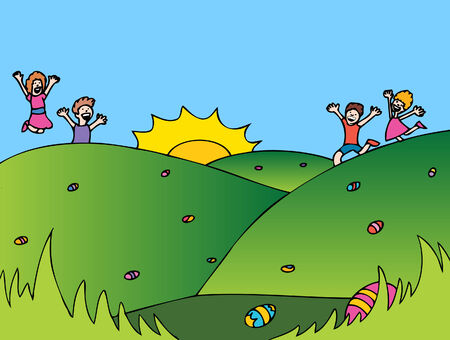 Easter Egg Hunt cartoon with children looking for holiday treats.