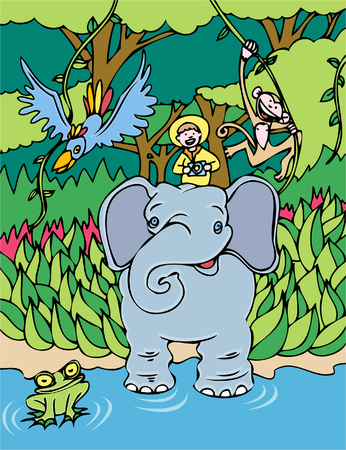 Elephant rider cartoon with man taking a tour of the amazing jungle. Vector