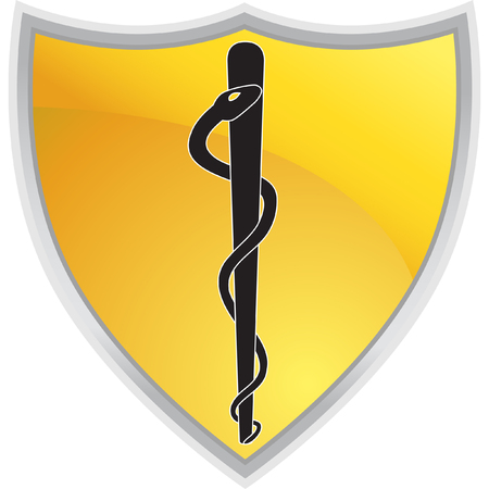 Caduceus Shield isolated on a white background.