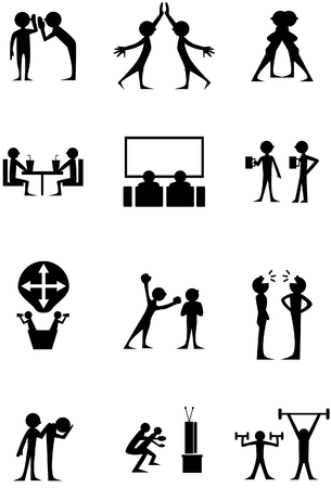 high: Friendship Icons isolated on a white background. Illustration