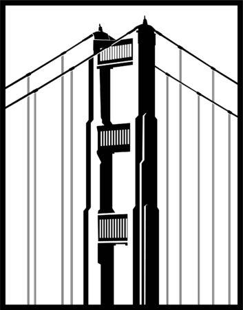 verjas: Icono de puente Golden Gate aislado en un fondo blanco.  Vectores