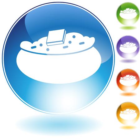 gebakken aardappel kristal pictogram geïsoleerd op een witte achtergrond. Stock Illustratie
