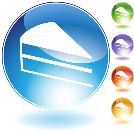web icons: cake slice crystal icon isolated on a white background.