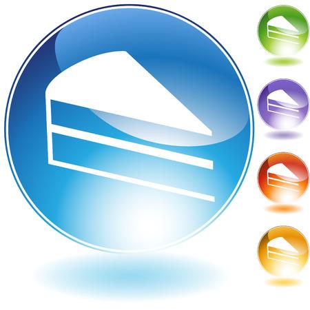 Kuchen Slice Kristall Symbol wird auf einem weißen Hintergrund isoliert.