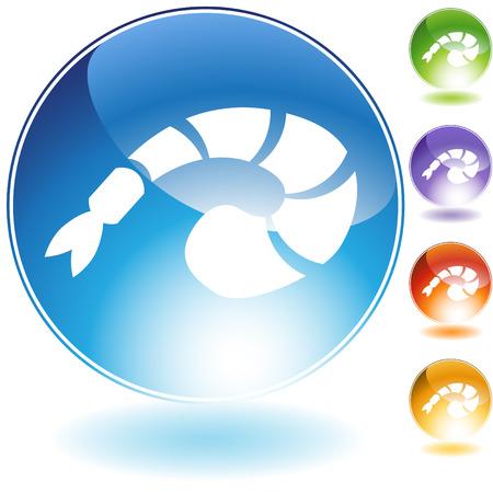 shrimp crystal icon isolated on a white background.