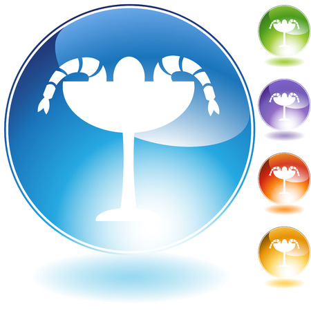 shrimp cocktail: shrimp cocktail crystal icon isolated on a white background.