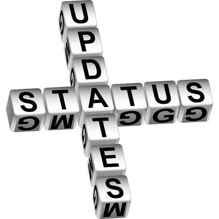 白い背景で隔離のステータス更新サイコロ メッセージ。  イラスト・ベクター素材