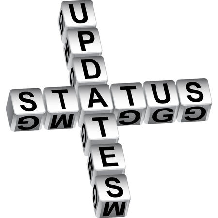 status: status update dice message isolated on a white background.
