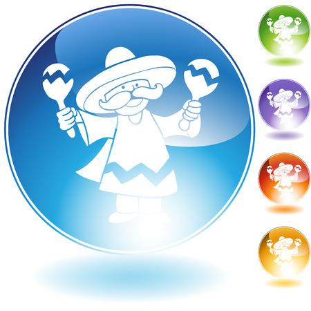 maraca: maraca player crystal icon isolated on a white background.