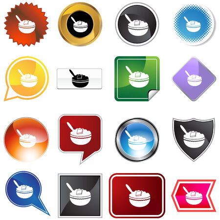 oatmeal icon set isolated on a white background.