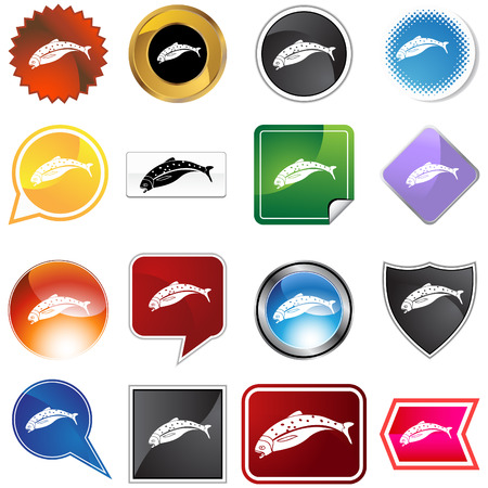 salmon icon set isolated on a white background. Vector