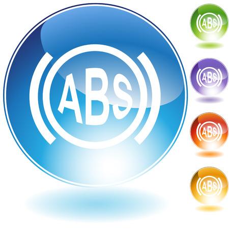 braking: Anti-lock braking system crystal icon isolated on a white background.