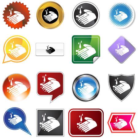 Handwashing icon set isolated on a white background.