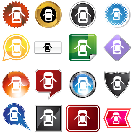 car isolated: Open car door alert icon set isolated on a white background.