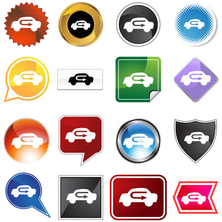 Air recirculation icon set isolated on a white background.
