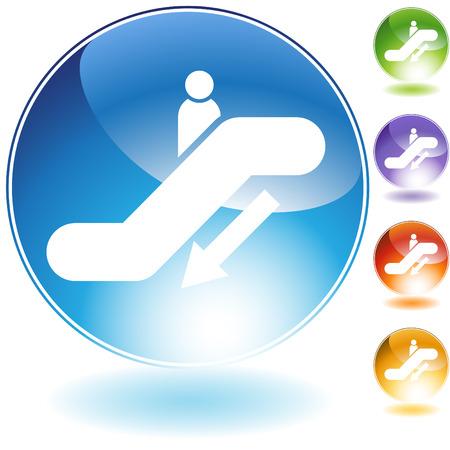 Escalator down crystal icon isolated on a white background. Ilustração