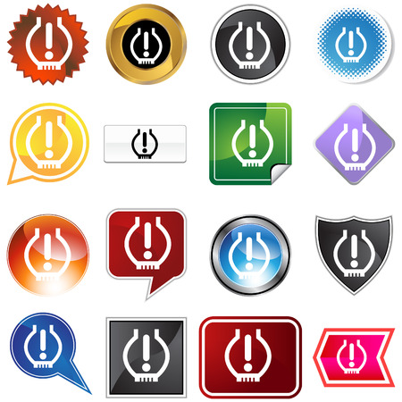 Low tire pressure icon set isolated on a white background. Vector