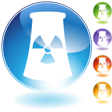 Nuclear powerplant crystal icon isolated on a white background. Vector