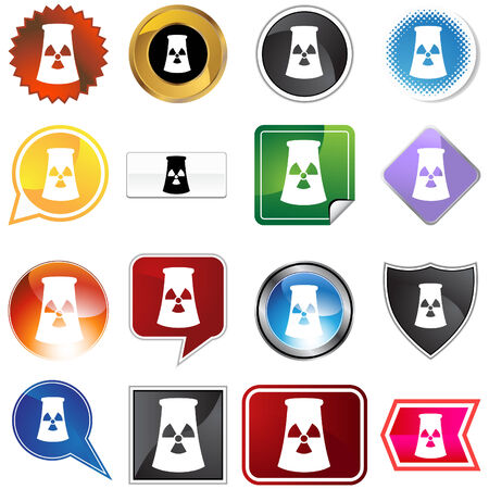 Nuclear powerplant icon set isolated on a white background. Stock Vector - 5883193