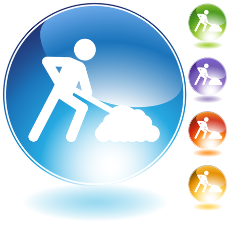 digging: Construction crystal icon isolated on a white background.