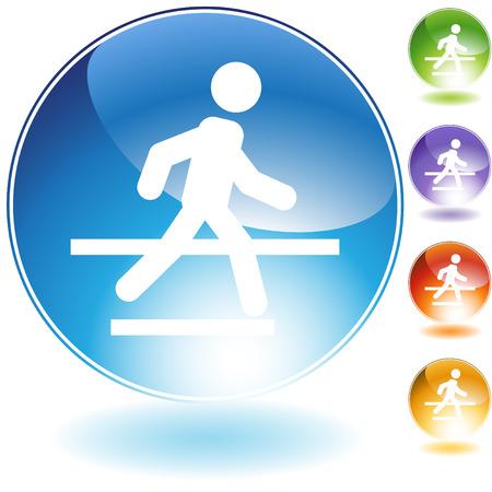 senda peatonal: Icono de cristal de cruce aislado en un fondo blanco.