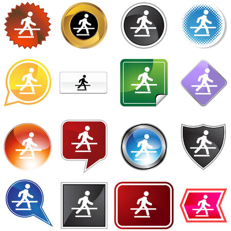 Crosswalk icon set isolated on a white background. Stock Vector - 5883228