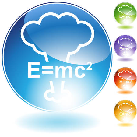 atomic bomb: Energy equation crystal icon isolated on a white background. Illustration