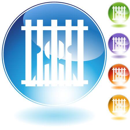 Gevangenis crystal pictogram geïsoleerd op een witte achtergrond. Stock Illustratie