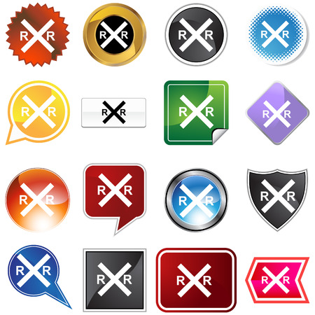 railroad crossing: Railroad crossing icon set isolated on a white background. Illustration