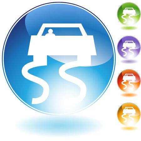 skidmark: Slippery road crystal icon isolated on a white background. Illustration