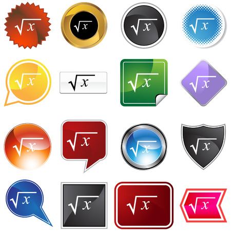 Square root icon set isolated on a white background. Illustration