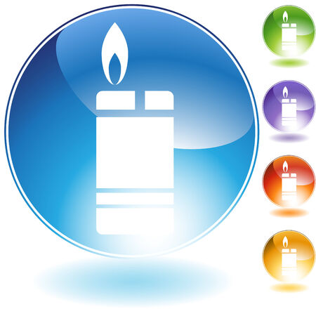 Cigarette lighter crystal icon isolated on a white background. Illusztráció