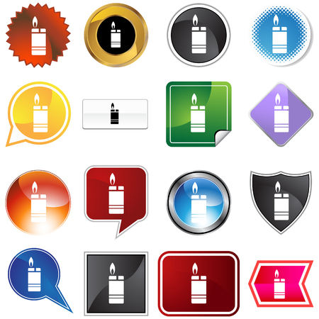 Cigarette lighter icon set isolated on a white background. Vector