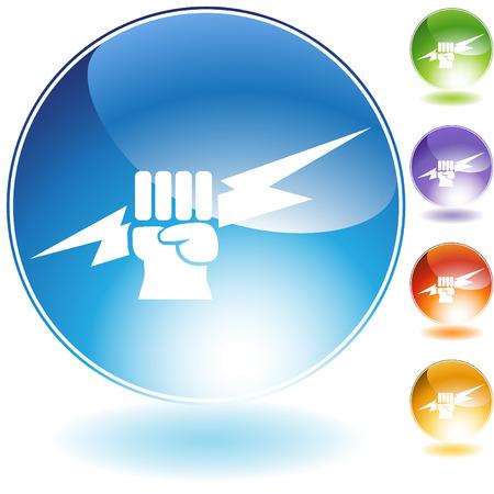 Bliksem vuist crystal pictogram geïsoleerd op een witte achtergrond. Vector Illustratie
